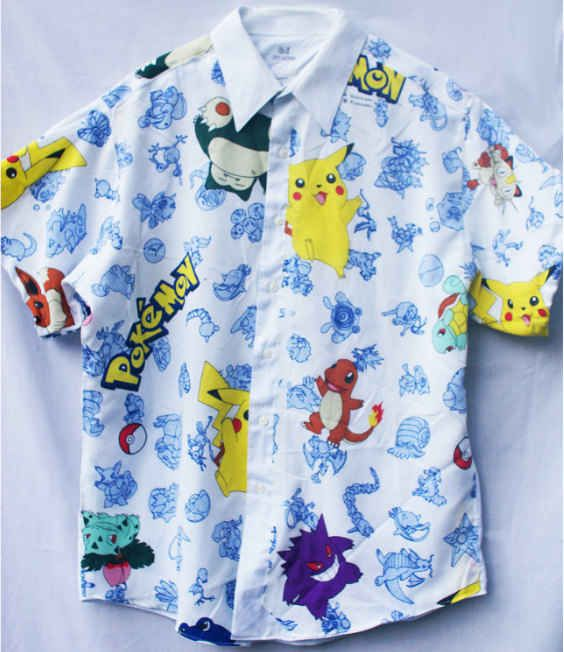 Men shirt made out of recycled Pokémon sheets.