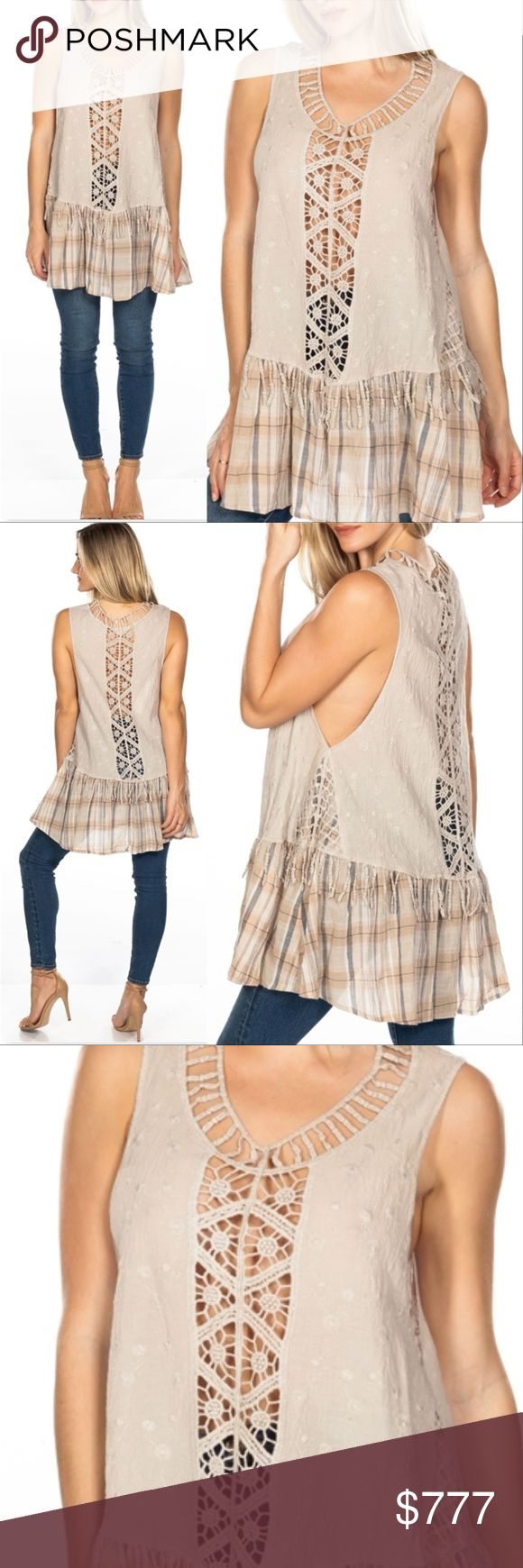 """'BOHO BEUATY' TUNIC CROCHET & PLAID TOP WE ARE AN ONLINE STORE, ALL ITEMS ARE BRAND NEW PRICING IS FIRM  GET THIS FABULOUS BOHO STYLE TUNIC TOP FEATURING fabulous see thru crochet details, fringe and plaid hemline and comfortable tunic fit! pair with jeans and heels or denim shorts with sandals, you could even wear it over your bikini to the beach!  MATERIAL: COTTON Model is 5'7"""" and wearing a Small (Waist 25"""", Bust 32D"""", Hips 36)  *Bohemian hippy 70's coachella tunics comfortable cruise…"""