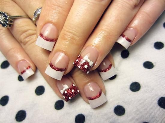 White french manicure with glitter-red rim and dotted accent nail with bow ♡