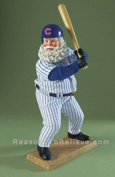 Chicago Cubs Santa | Santa Claus Figurines and Hand Carved Wooden Santas