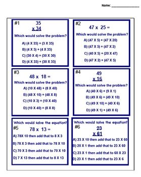 This 2 page math smartboard lesson has students use the distributive property to decide how to find the answer in a double digit multiplication problem. This worksheet goes with my double digit multiplication test prep (distributive property lesson) This is a test prep lesson made for the 4th grade AZ math.