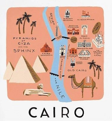 Illustrated art print featuring the beautiful city of Cairo, Egypt! Extra room around print for easy trimming and framing! Great print to remind you of a trip you took, or a place you'd love to go! Ma
