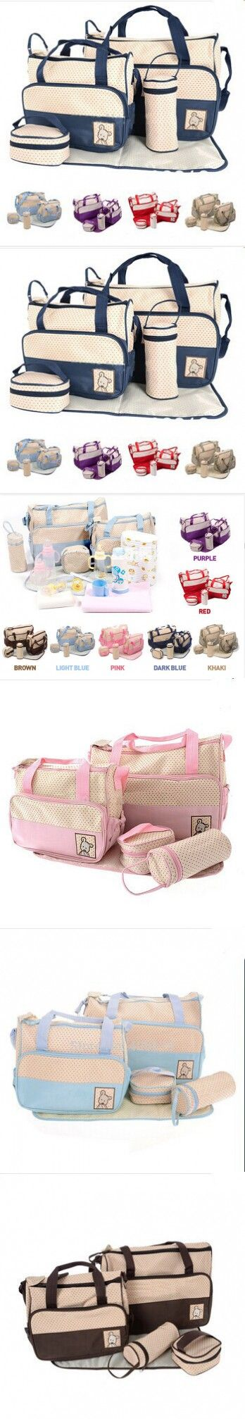 Baby Care 2016 Fashion 5Pcs/set Diaper Bag Mummy Bag Mother Bag For Baby High Quality Baby Changing Bags 7 Colors $28.42