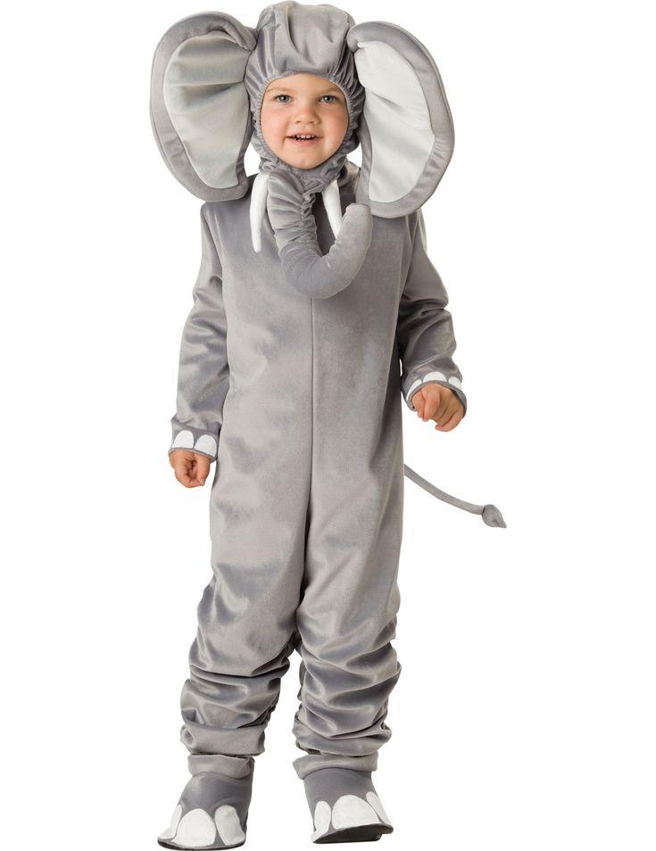 Niedliches Elefantenkostüm für Kinder mit einem Overall, Überschuhen und einer Mütze mit integriertem Rüssel.