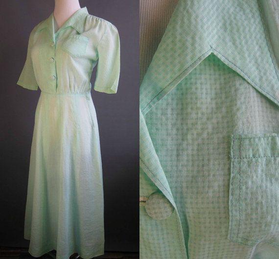 1940er Jahre reine Viskose Kleid Seersucker von edgertor auf Etsy