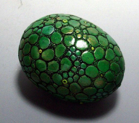 Dragon Egg Paperweight Metallic Green Scales by MandarinMoon, $35.00