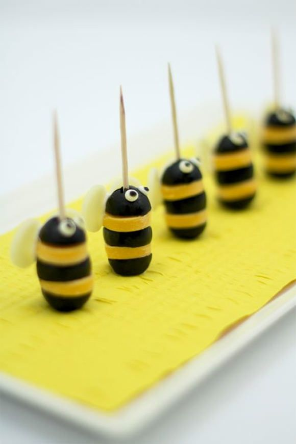 Olive & Cheese Bum­ble­bees (quick & easy snack for kids)