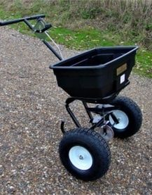 Small manual salt seed and fertiliser spreader. The ATV spreaders can be towed or mounted on a quad bike to disperse grass seed, fertiliser onto the land to maintain the fields encouraging healthy growth. For more info: http://www.fresh-group.com/spreaders.html