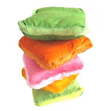 Set of 5 Velvet Look Toodler Baby Pillow Multi-color Soft Kids Bedroom Cushion