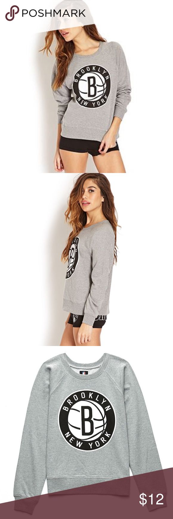 Forever21 NBA Collection Brooklyn Nets Sweatshirt Women's Gray Brooklyn Nets Sweatshirt - Size Large Forever 21 Tops Sweatshirts & Hoodies