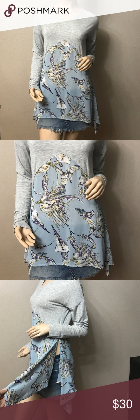 NWOT😍GRAY FLORAL TOP WITH SIDE SLITS😍 Very cute floral top with side slits on boths sides, content: 100% cotton Floral part 100% Polyester She and Sky Tops Blouses