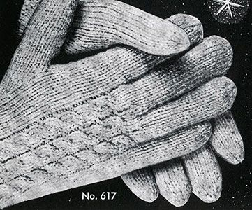 Link to download the FREE  knitting pattern for Men's & Women's Cable Gloves knit pattern published in Gloves and Mittens, Bernhard Ulmann #29.