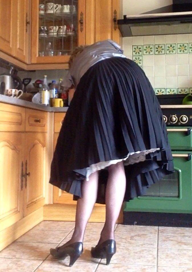 Pin by Lucy on Peeking Slip   Slip on, Skirts, Tgirls