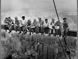 'Lunch atop a Skyscraper (New York Construction Workers Lunching on a Crossbeam)' [1932] - Charles C. Ebbets  This is one of theose pictures that I have always loved