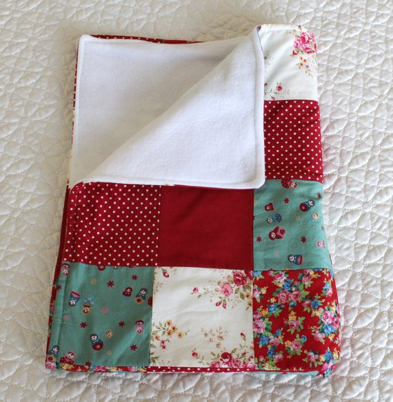 Baby Blanket handmade baby quilt vintage pattern by Jamberoon