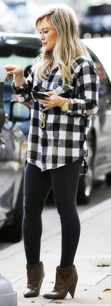 Love her casual street style. I enjoy plaid button up shirts.  I want to try to start wearing them with regular vintage tshirts and leggings.