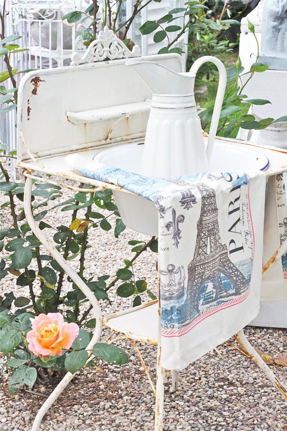 French farmhouse vintage washstand.