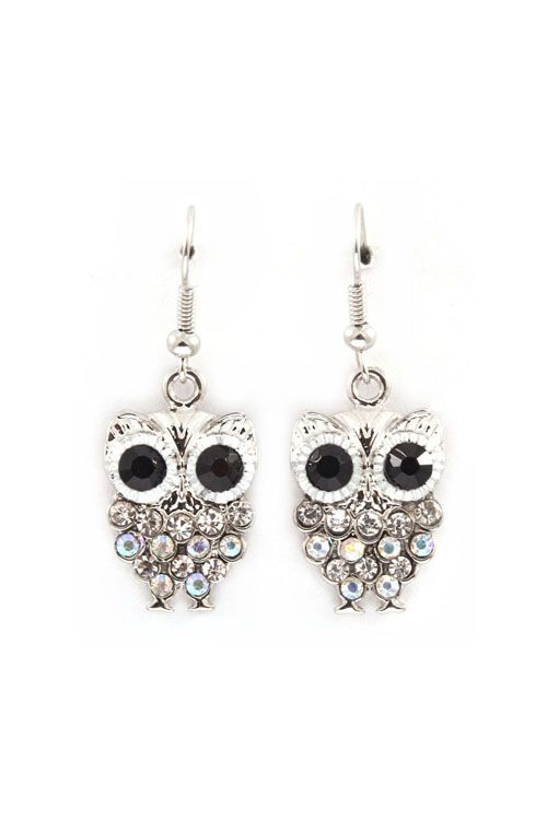 Owly Earrings in Iridescent Crystal