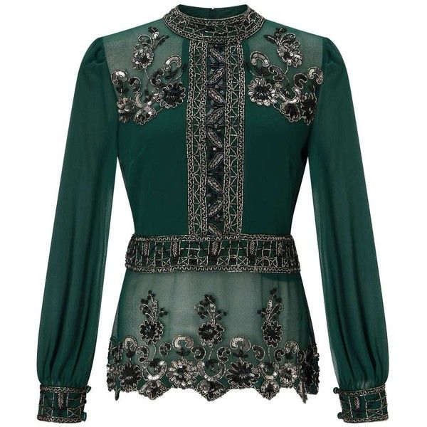 Miss Selfridge PREMIUM Green Grace Embellished Blouse ($95) ❤ liked on Polyvore featuring tops, blouses, black, green blouse, green top, embellished blouse, miss selfridge tops and embellished top