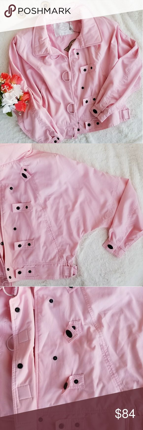NWT Bobbie Burns Windbreaker Jacket Bobbie Burns Soft pink Windbreaker Jacket. Detachable thin shoulder padding. Micro-Flament Fabric. D ring closures. Two front pockets. Elastic panel at each side of waistband, along with a double D-ring closure.BBC embroidered on back in an abstract font.Size S/M. NWT🌸 Make an offer🛍 Bobbie Burns Jackets & Coats