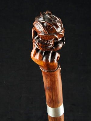 """""""A Rose in the Hand"""" handle walking cane English date circa: 1870"""