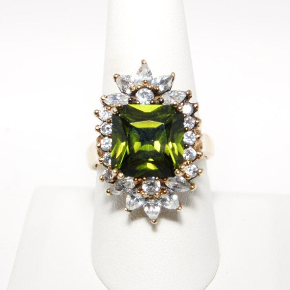 Victoria Wieck 1980s Glamour Ring Olive Quartz with Round and Pear Shaped Diamonite set in Gold over Sterling Size 10