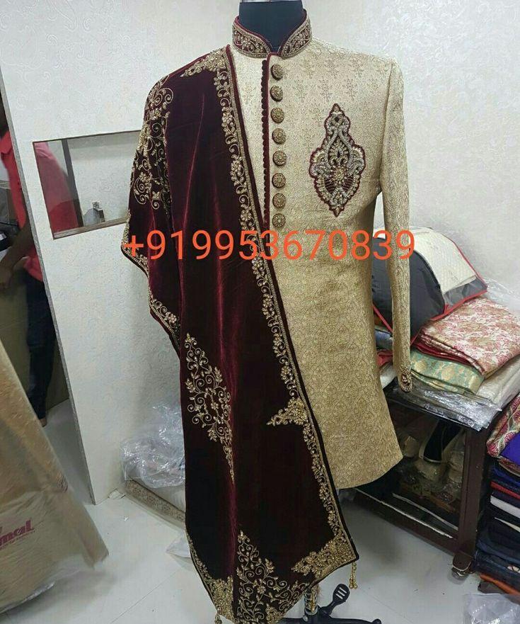 Groom Sherwani with shawl , jooti , pagri & chudidaar Worldwide Shipping & Delivery WhatsApp / Dial : +919953670839