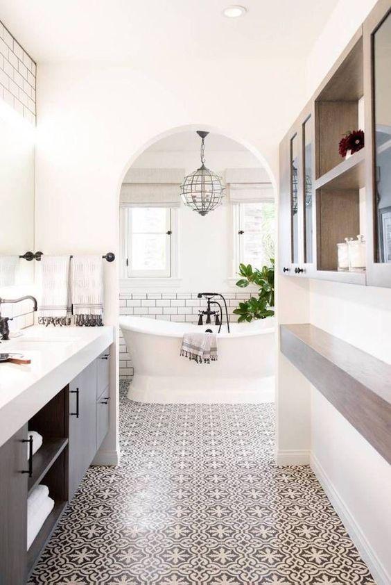 Bathroom   White   Gray   Patterned Tile