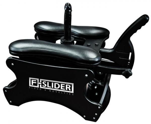 F-slider Pro Self Pleasuring Chair Black - The F-Slider Pro self pleasuring chair you can play by yourself or as a couple. The F-Slider uses your natural body movement to provide stimulation in a comfortable seated position. The ultimate self powered sex rocker comes complete with universal adapters to fit Doc Johnson Vac U Lock or any harness compatible dildo. Powered by the movements of your body this F-Slider provides complete control over the speed depth and rhythm of penetration.