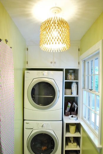 clothespin light for laundry roomSmall Laundry Room, Lights Fixtures, Clothespins Chand, Laundry Rooms, Wash Room, Pendants Lights, Small Spaces, Small Closets, Laundryroom