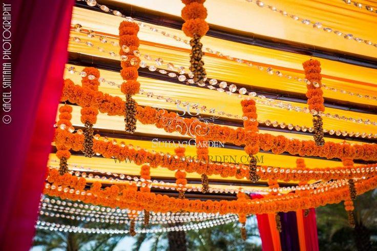 Indian Wedding, Marigold Garlands, Marriott Harbor Beach Florida, brass bells, bamboo sticks, outdoor wedding, beach wedding, outdoor mandap, bright mandap, Suhaag Garden, Indian wedding decorator, Florida wedding decorator