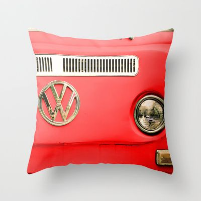 Summer of Love - Adventure Red Throw Pillow by Olivia Joy StClaire - $20.00 VW, volkswagen camper, red, holiday gift, home decor, decor, retro, vintage, automobile, modern