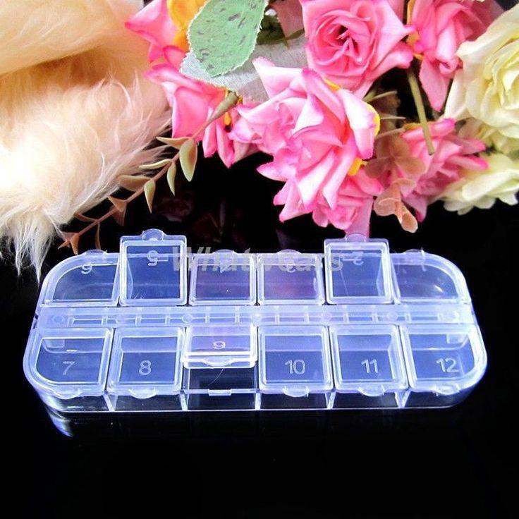 Nail Art Tips Rhinestone 12 Compartment Empty Storage Case Box Z02 GBW | eBay