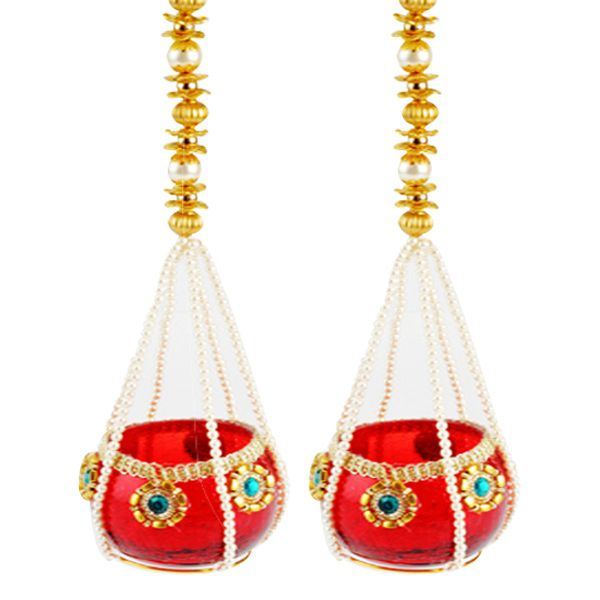 Hanging Diya - Set of 2 Gift your loved ones these traditional hanging diyas decorated with stones, beads and pearls. Comes in a set of 2 pieces.  Rs. 1,275 ($20.90) http://www.tajonline.com/diwali-gifts/product/d3999/hanging-diya-set-of-2/?aff=pint2013/
