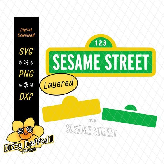 Sesame Street Sign Svg Dxf Sesame Street Sign File For Birthday Card For Birthday Invitation Decal Sesame Street Signs Sesame Street Street Signs