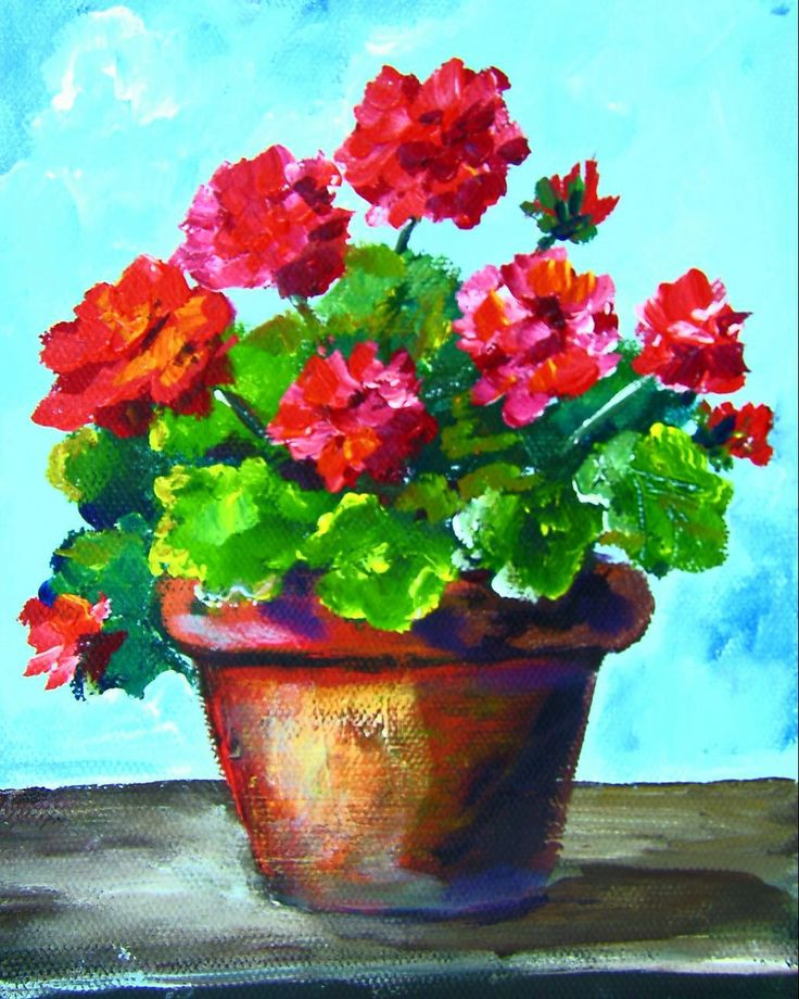 Potted Geraniums: Vibrant red flowers and green leaves are a great subject for a still life. Notice the shadows and highlights on the rusty pot sitting on an old board. #gingercooklive #art