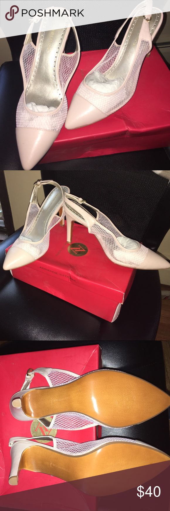 Adrienne Vittadini sling backs Pink mesh sling backs. Never worn. Kept in box. They will go with almost any style! Make an offer!!! Adrienne Vittadini Shoes Heels