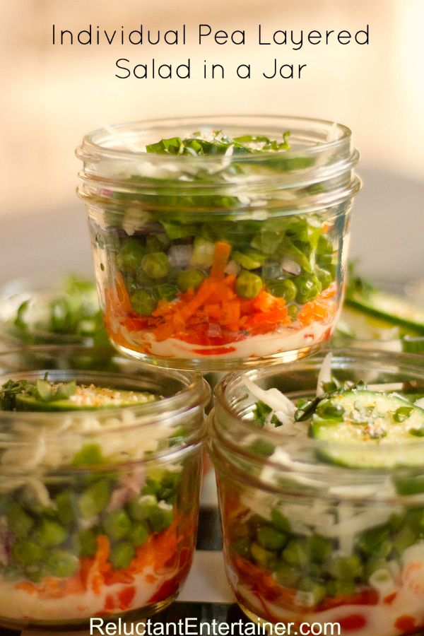 IEasy for Mother's Day luncheon, a picnic, or party: Individual Pea Layered Salad in a Jar reluctantentertainer.com