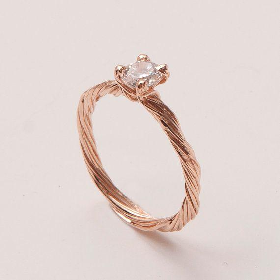 Twig Engagement Ring - 14K Rose Gold and Diamond engagement ring, engagement ring, leaf ring, filigree, antique, art nouveau, vintage