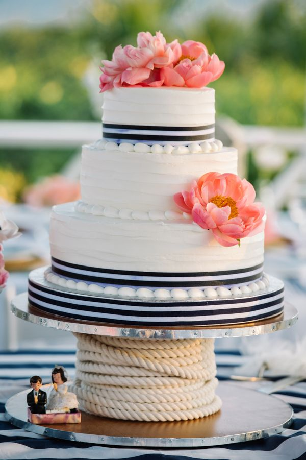 striped nautical wedding cake with coral charm peonies | Dear Wesleyann