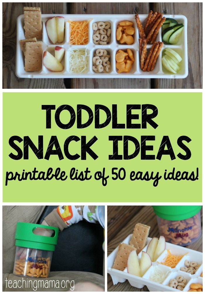 50 easy toddler snack ideas with a printable list.
