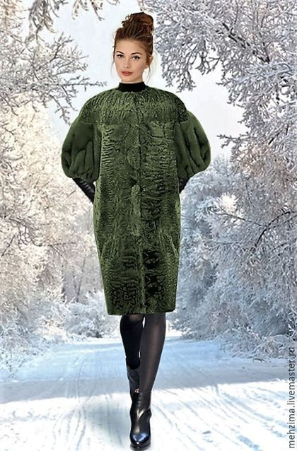 Верхняя одежда ручной работы. Ярмарка Мастеров - ручная работа. Купить Шуба из каракульчи с рукавами из норки. Handmade. Ярко-зелёный