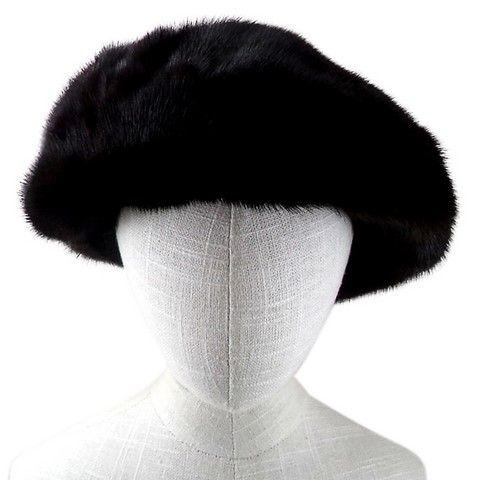 beret fourrure vison marron fonce face
