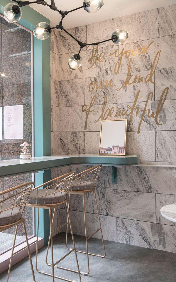 Marble Tile Wallpaper Muralswallpaper In 2020 Salon Interior Design Cafe Interior Design Coffee Shop Design