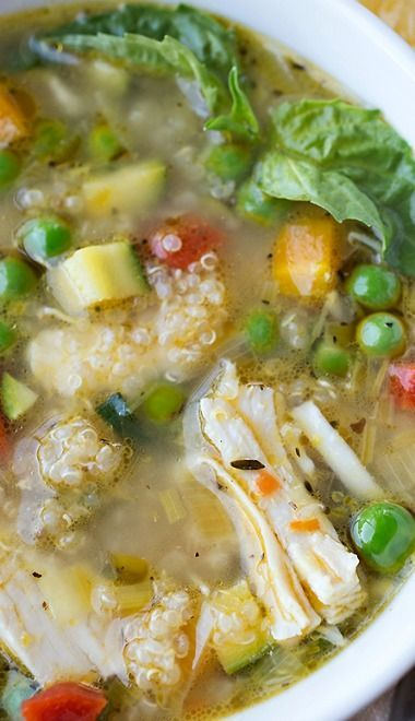 Simple Lemony Chicken  Spring Veggie Soup with Quinoa  Fresh Basil