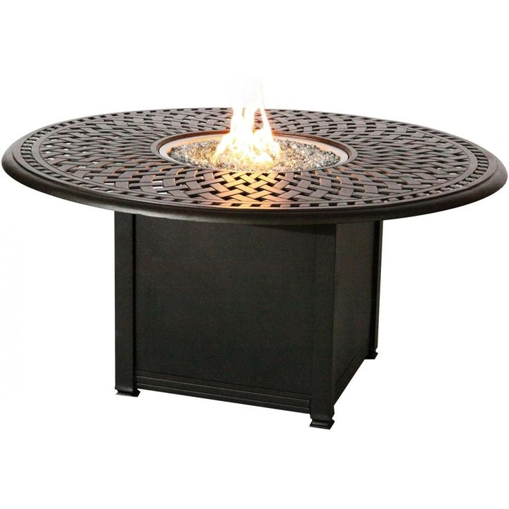 Signature 52-Inch Propane Fire Pit Chat Table By Darlee - Mocha available at Ultimate Patio. Fire pit patio tables add a spark of...