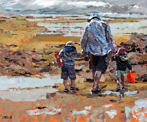 """Daily+Paintworks+-+""""Rockpools""""+-+Original+Fine+Art+for+Sale+-+©+Claire+McCall"""