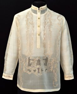 Raya Barong Tagalog #4014 A handsome Raya Barong Tagalog. This raya dress shirt is a cut above the rest. The high-grade Jusi fabric gives this Barong Tagalog a sophisticated, formal effect. #BarongsRUs #barong