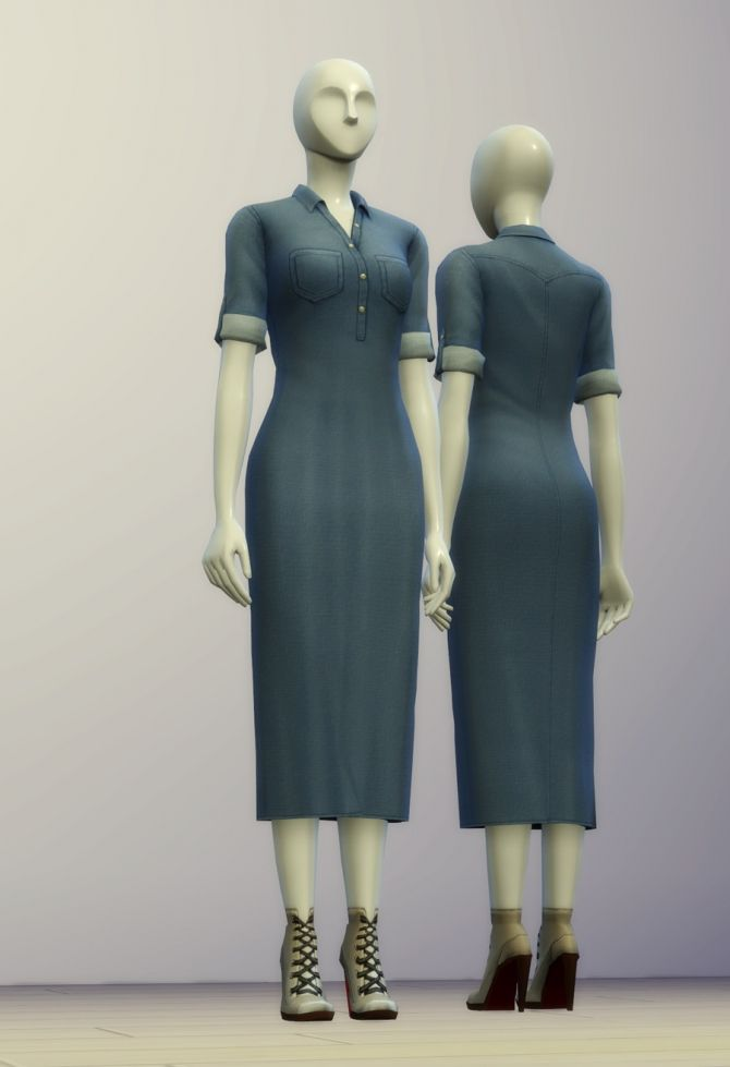 Denim shirt dress (10 colors) at Rusty Nail • Sims 4 Updates