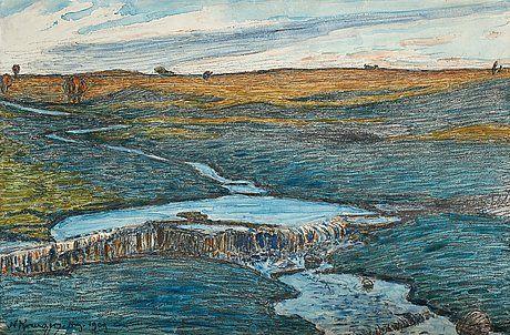 """NILS KREUGER, """"Bäcken på Alvaret"""".  1909."""